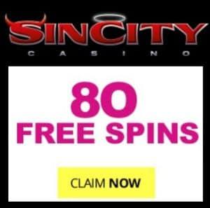 SinCity Casino 80 exclusive free spins and €1500 free money bonus