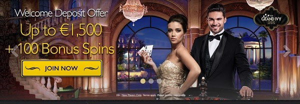 The Grand Ivy Casino €/$1500 welcome bonus and 100 free spins!