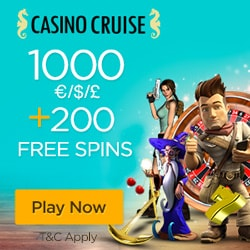 Casino Cruise 200% up to $1,000 plus 200 freespins - Exclusive Bonus!