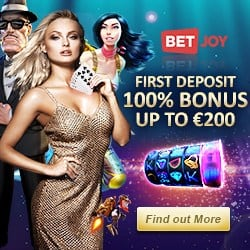 Betjoy Casino & Sportsbook – 25 free spins NDB   €200 welcome bonus