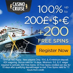 Casino Cruise Review: $1000 bonus & 200 gratis spins on registration!