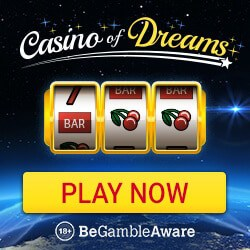 Casino of Dreams 50 free spins on slot games + £1000 welcome bonus
