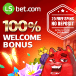LsBet Casino 20 FS no deposit   100% bonus up to $300   100 free spins