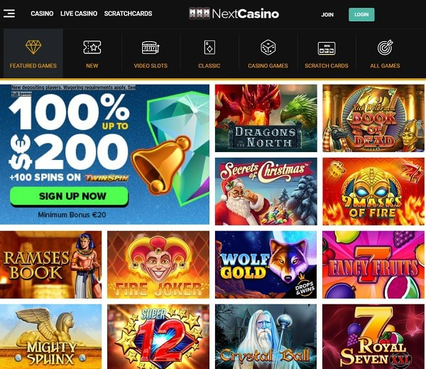 Register at Next Casino and play to win real money!