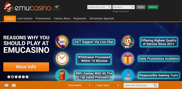 Sign up with Emu Online and play with no deposit bonus