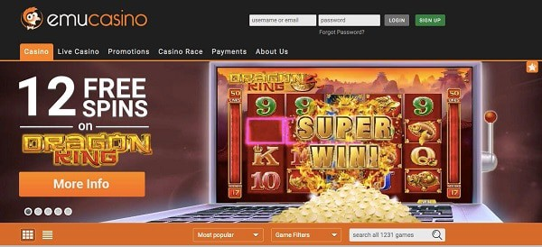 12 free spins on Emu games