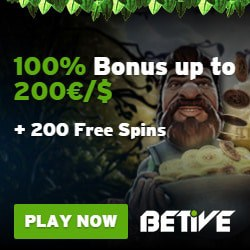 Betive Online Casino Review: 200 free spins   €1,000 bonus money