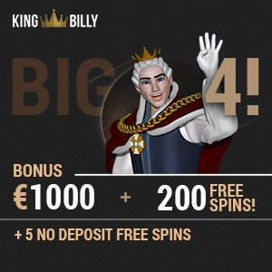King Billy Casino 5 no deposit free spins   €1000 bonus   200 gratis spins