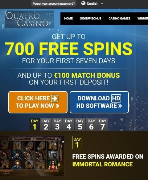 Quatro Casino free spins on registration