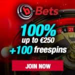 b-Bets Casino €5 free bet + €250 bonus + 100 free spins