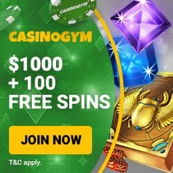 CasinoGym.com - $1000 free cash & 100 free spins bonus on deposit