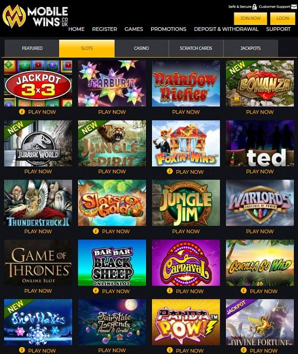 Mobile Wins Casino free spins bonus