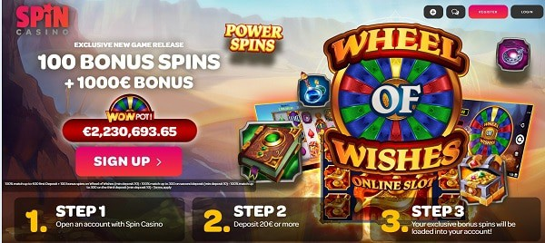 Exclusive free spins bonus (Wheel of Wishes)