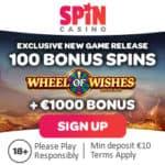 Spin Casino 100 free spins + €1000 match bonus + €200 free bet