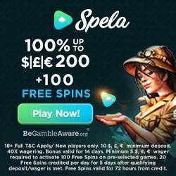 Spela Casino 100 gratis spins and 100% free bonus