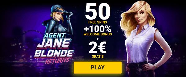 50 gratis spins and 2 EUR bonus no deposit needed!