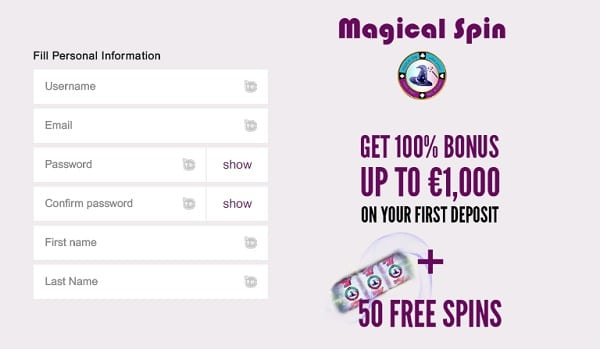 Magical Spin register now and get 7 EUR bonus
