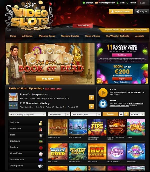 Videoslots.com homepage