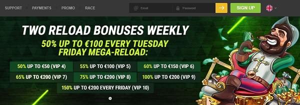 Reload Bonus Fastpay Casino