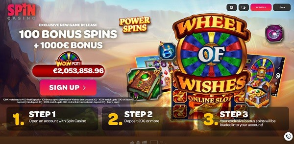 Spin Casino 100 free spins bonus on Wheel of Wishes jackpot (Microgaming)