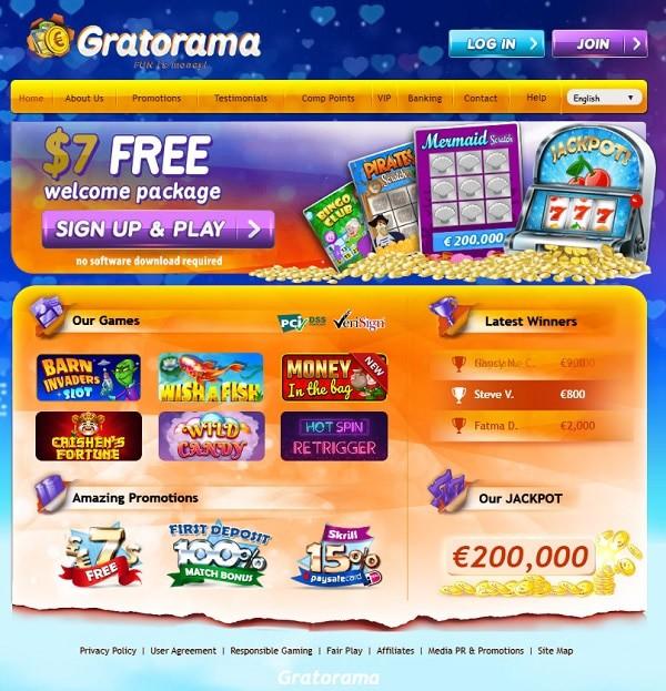 Gratorama $7 free no deposit bonus code