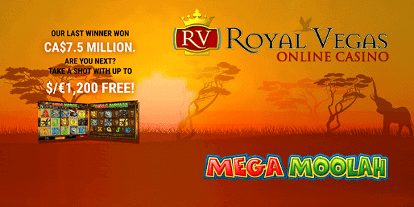 Royal Vegas Casino 120 free spins on Mega Moolah jackpot slot