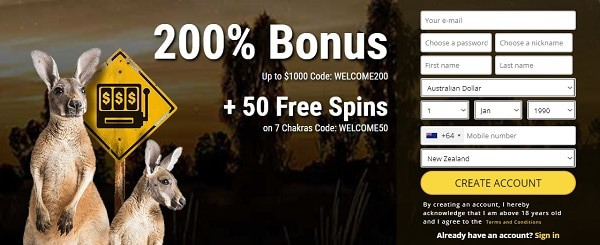 How about 200% bonus and 50 no deposit spins?