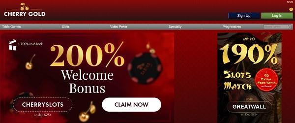 Cherry Gold 200% bonus and free spins