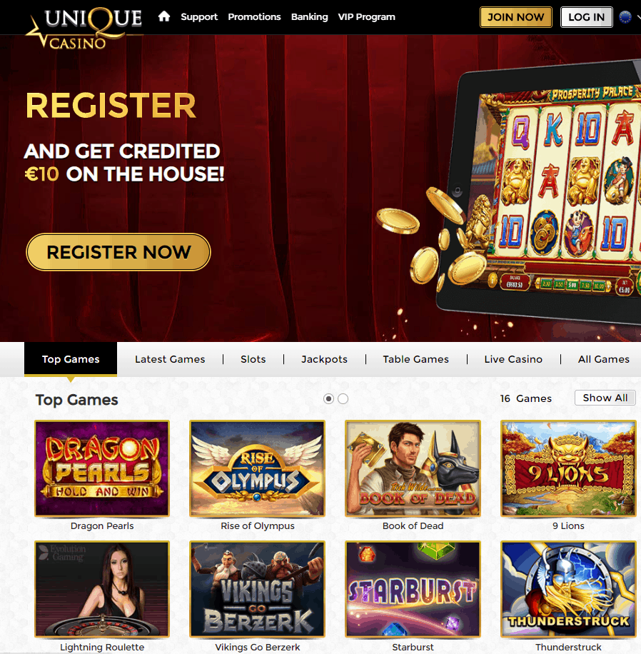 Unique Casino 10 No Deposit Bonus