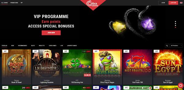 Cobra Casino Homepage Review