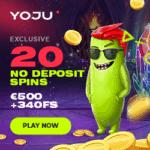 YOJU Casino 340 free spins + $500 bonus or 3 Bitcoins (BTC)